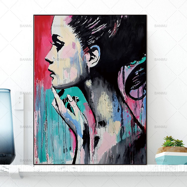 Canvas Painting Wall Art Pictures Wall poster decoration for living room prints colorful people on canvas no frame home decor