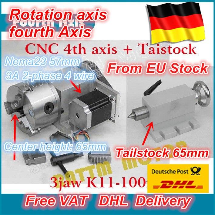 K11-100mm 3 mascella mandrino 100mm 4th Assi + Contropunta CNC divisore/Asse di Rotazione kit per Mini CNC router/lavorazione del legno incisione