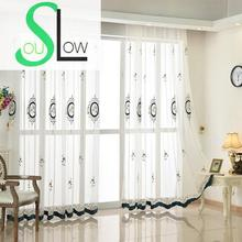Slow Soul White European Flower Embroidered Curtain Europe Floral Tulle Cortinas For Living Room Kitchen Bedroom Sheer Curtains