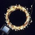 Blanco cálido 10 M 100LED Hadas de la Secuencia de Energía Solar Jardín Luz de Navidad Al Aire Libre
