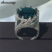 Choucong Big Stone Ring 15ct Blue Zircon Crystal 925 Silver Anniversary Wedding Band Rings For Women