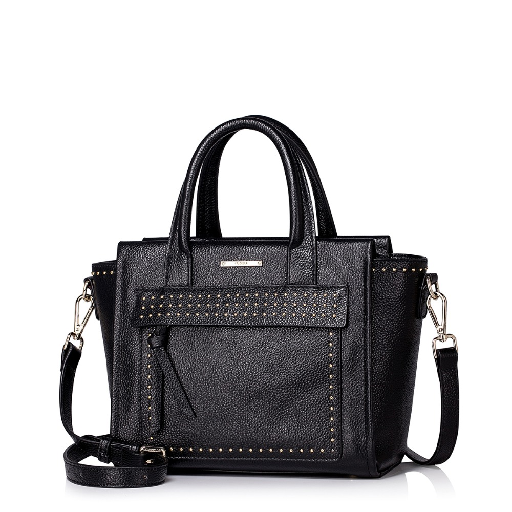 2016 New Women's Studded Tote Handbag Genuine Leather Trapeze Satchel Versatile Cross Body Purse Casual Shoulder Bag su gx 5s r