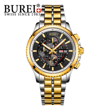 BUREI Men S Watch Stainless steel Sapphire Glass Quartz Waterproof Wristwatch Chronograph Analog Man Watches Relojes