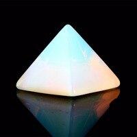 Natural Stone Carved Opalite Opal Turquoise Blue Point Pyramid Symbol Rose Quartz Point Chakra Healing Reiki