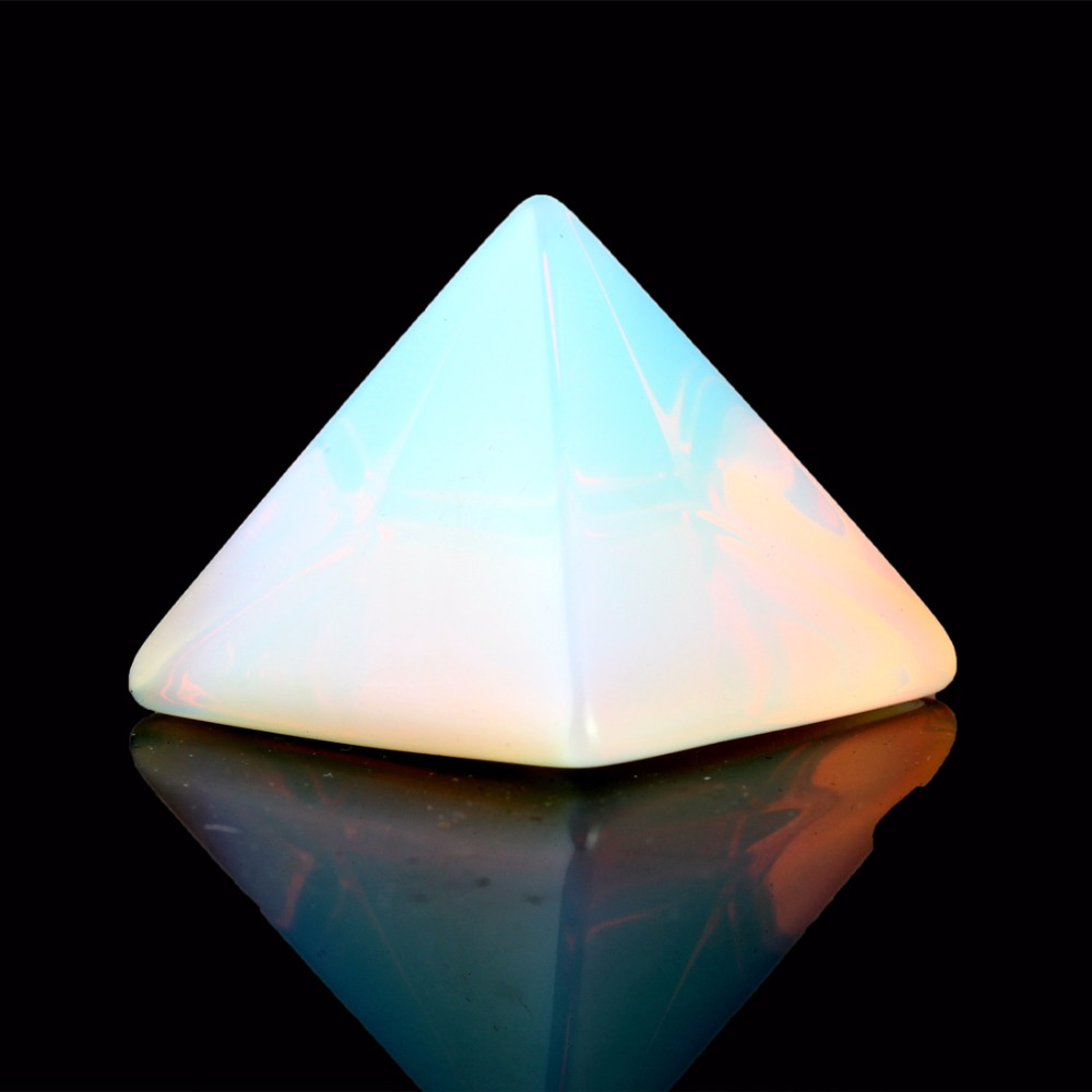 Natural Stone Carved Opalite Opal Pyramid Symbol Rose quartzs Point Chakra Healing Reiki Crystal Free pouch