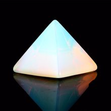 Natural Stone Carved Opalite Opal Pyramid Symbol Rose quartzs Point Chakra Healing Reiki Crystal Free pouch(China)