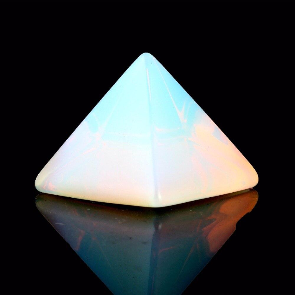 Pietra naturale Intagliato Opalite Opal Piramide Simbolo Rosa quarzi Cristallo Point Chakra Healing Reiki Gratuito pouch