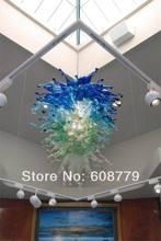High Ceiling Blue Hand Blown Glass Modern Rectangular Crystal Chandelier