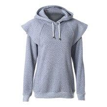 2016 Women Hoodies Casual Women Long Sleeve Hoodies Drawstring Hooded Sweatshirt Gray Es1820