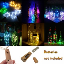 1M 2M 3M 10 20 30 LED Cork Shaped Silver Copper Wire String Fairy Light Wine Bottle for Glass Craft Christmas Party Decoration cheap YORYZENG 1 Year 1-5m None Button Cell bedroom Button Battery Holiday White Yellow PURPLE Green Blue Multi Pink 1-19 head