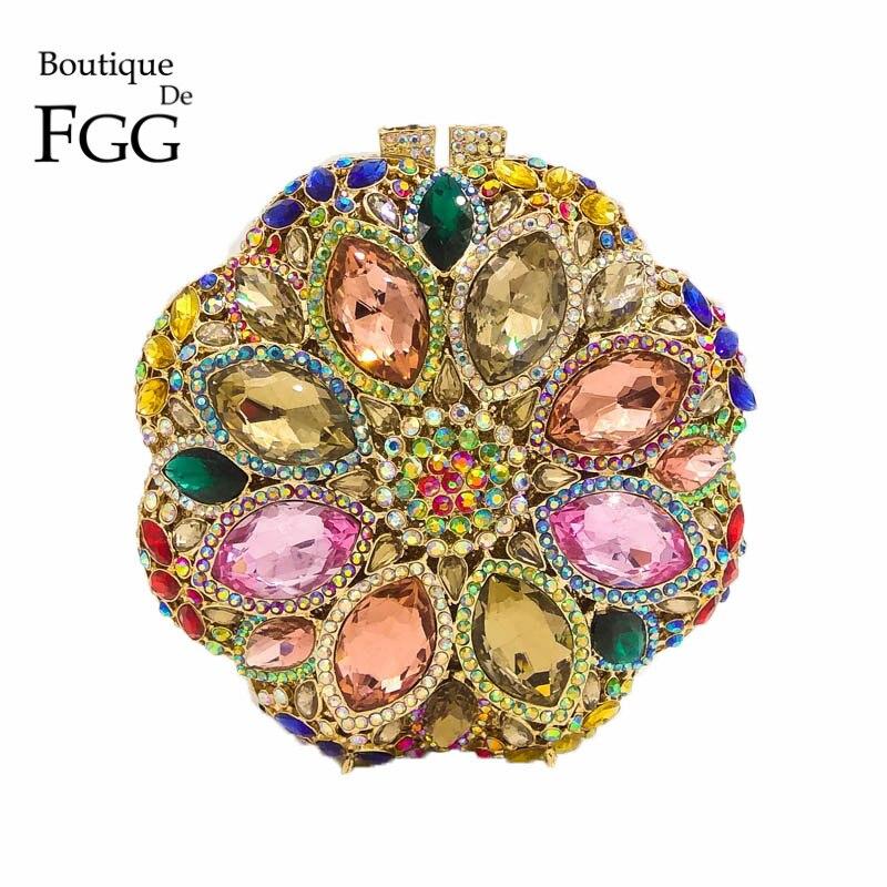 Circulaire Ronde Dames Or Cristal de Soirée pochette Strass De Mariée De Mariage portemonnaie Femmes Parti Mini Dîner Sacs À Main