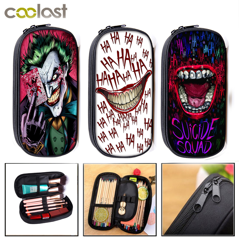 HAHA Joker Cosmetic Cases Pencil Bag Boys Girls School Bags Stationary Bag Kids Pencil Box School Supplies Gift