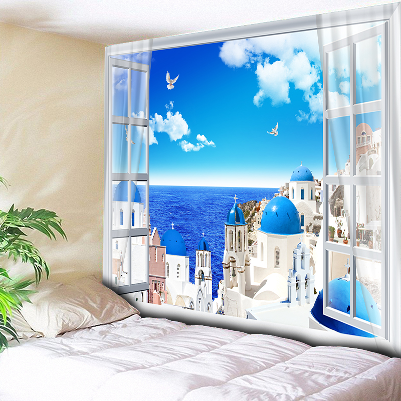 Blue Sky Ocean Castle Home Decor Sea Wall Tapestry Living Room Bedroom Bedside Wall Carpet Hanging Blanket Table Cloth 200x150cm