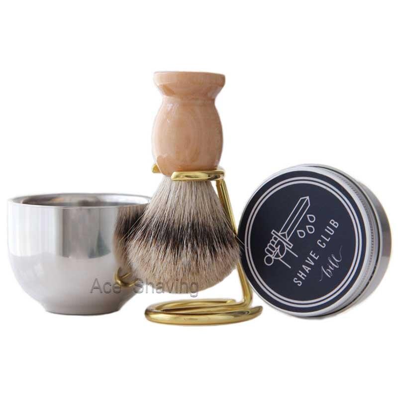perfeclan Set De 3 Piezas Kit De Afeitar Peine De Madera Cepillo De Barba De Cerdas Naturales Tijeras