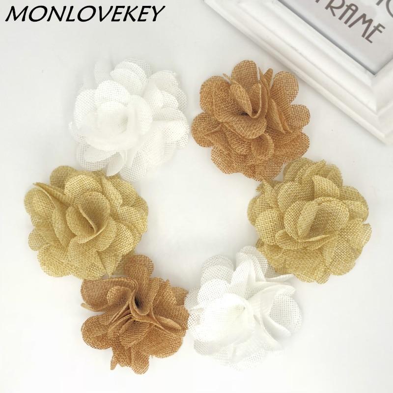 ⊹50 unids/lote hecha a mano de la arpillera del yute flor Rosa ...