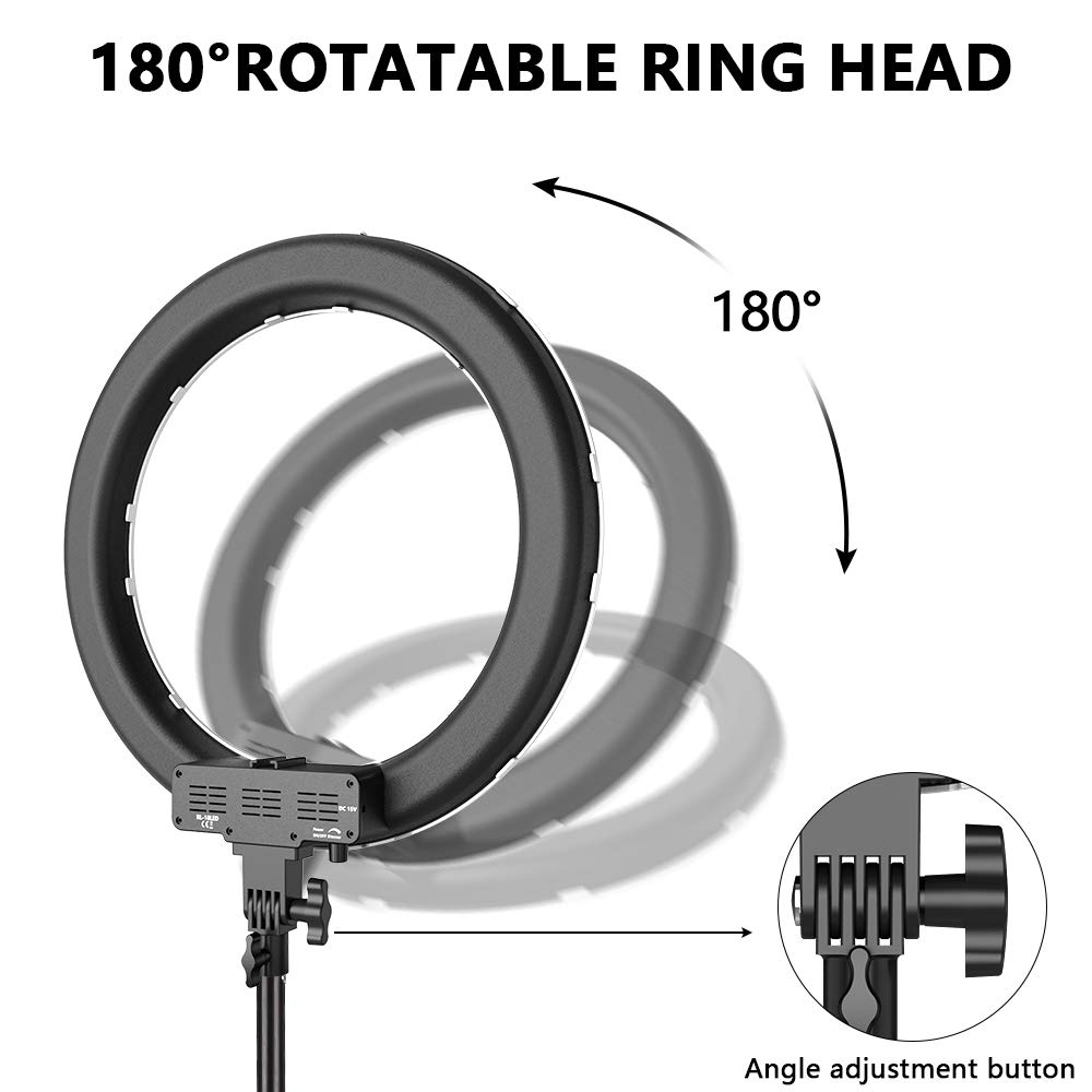 Image 4 - Travor 18 inch photography ring lamp 55W round lamp 3200K 5500K 240 Leds Makeup Ring Light Lamp For Camera Photo Studio Phone-in Photographic Lighting from Consumer Electronics