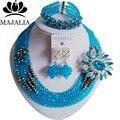 Moda Nigéria Casamento beads africanos jewelry set de Cristal Azul Turquesa colar conjuntos De Jóias de Noiva Frete grátis A1279
