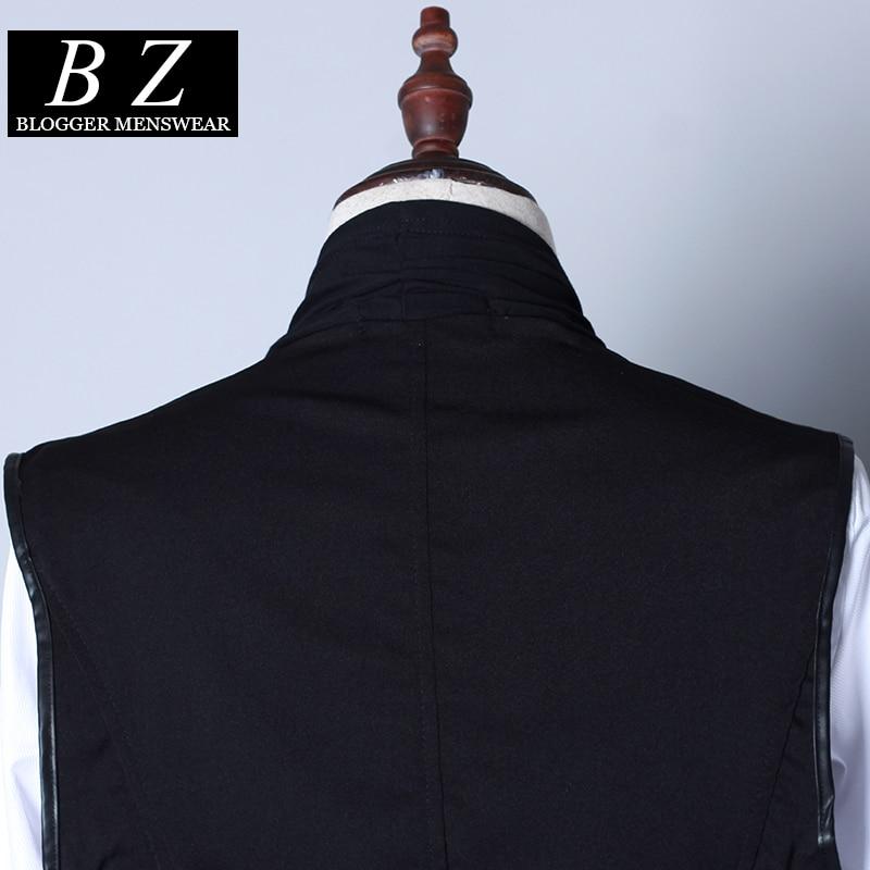 Mode Chanteur Hommes Moyen long Cardigan De Mâle Mince Patchwork Gilet Costumes Personnalisé 2016 Performance Vêtements Nouveau Noir CtwnqdRU6