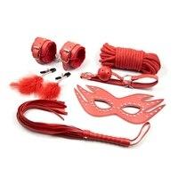 6 Pcs/Set Adult Games Sex Bondage Leather Handcuffs Gag Whip Mask Toy Fetish Adult Sex Restraints Sex Toy For Couples J10 1 6