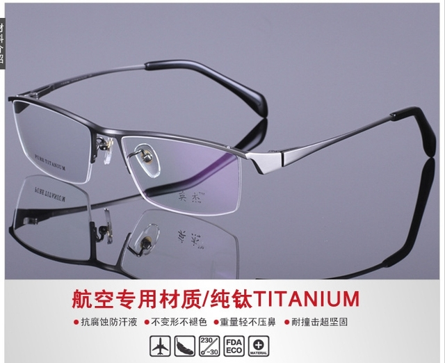22427a1b01 Man 100% Titanium Glasses Optical Male High End Classic Business Eyeglasses  Frame Top Quality Spectacle Myopia Eyewear 2 Colors
