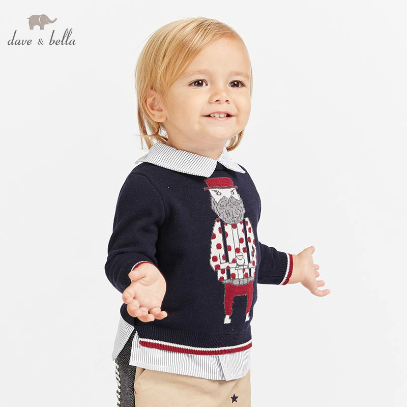 все цены на DB8839 dave bella autumn knitted sweater infant baby boys long sleeve pullover kids toddler tops children knitted sweater