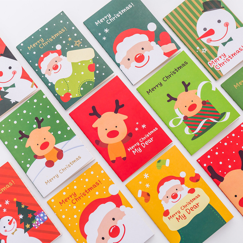 1PC Mini Kawaii Soft Cover Cute Red Green Cartoon Elk Merry Christmas Memo Paper Pad Notepad Gifts Books Suppliers