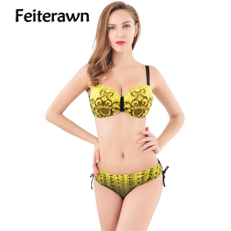 Feiterawn Sexy Women Bikinis 2018 Swimsuit Print Padded Swimwear Push Up Brazilian Bikini Set maillot de bain Biquini JR15026 hibkn print bikini pineapple print brazilian bikini halter swimsuit xl strappy bikinis 2018 push up swimsuit women swimsuits