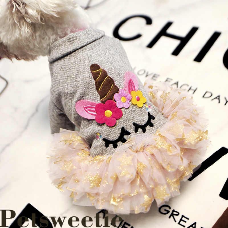Осеннее платье принцессы для щенка Одежда для маленьких собак Одежда для собак чихуахуа Весенняя юбка Йоркширский Единорог Платье xs-xl