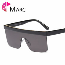 MARC new color sunglasses women men UV400 Rimless vintage shield frames large size single lenses Mirror