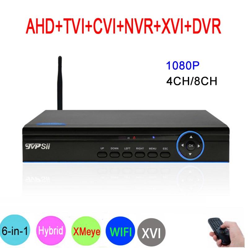 Синий Панель Hi3521A XMeye 8CH/4CH 1080 P видеонаблюдения Регистраторы 6 в 1 Гибридный Wi-Fi Onvif NVR TVI CVI AHD DVR Бесплатная доставка