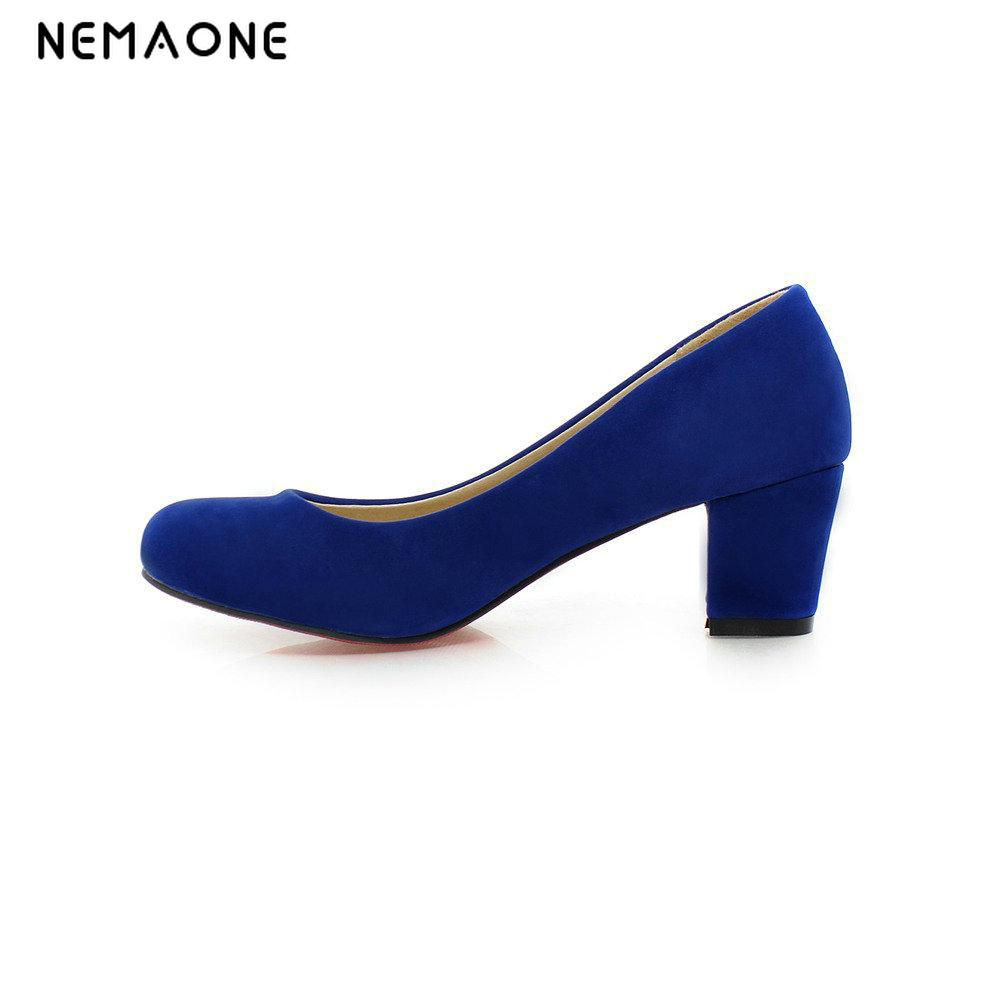 NEMAONE 2017 Shoes Women Mary Jane Heels black blue red Bridal Wedding High Heels Round Toe Chunky High Pumps купить недорого в Москве