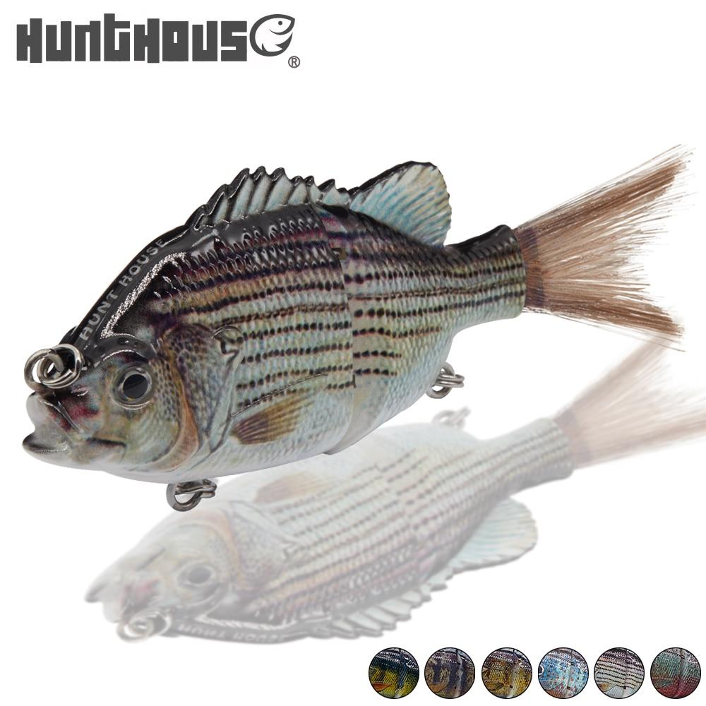Hunthouse 12,5 cm diseño nuevo Tipo 2 unido multisecciones Lucio señuelo de pesca 12,5 cm cebo de natación cebo de pesca 2 # anzuelo aparejos de pesca