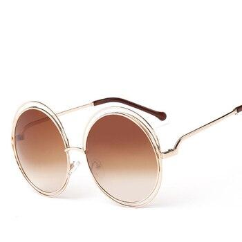 Vintage Round Big Size Oversized lens Mirror Sunglasses Women Brand Designer Metal Frame Lady Sun Glasses Lady Cool Retro