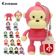 Cartoon 6 Color Monkey USB Flash Drive 4GB 8GB 16GB 32GB 64GB 128GB Mini Cute Memory Stick Pendrive Creative Animal U Disk