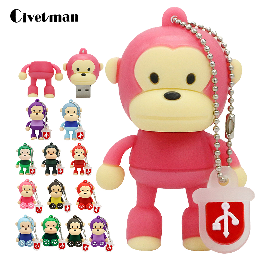 Hot Sale Cartoon Animal Monkey USB Flash Drive 256GB Pendrive 4GB 8GB 16GB 32GB USB Memory Stick External Storage Pen Drive Gift