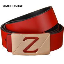 YIMUHUADAO New Real Leather-based Belts for Males Waist Male Denims Luxurious Strap for Girls Designer Model Feminine Letter Buckle Belts