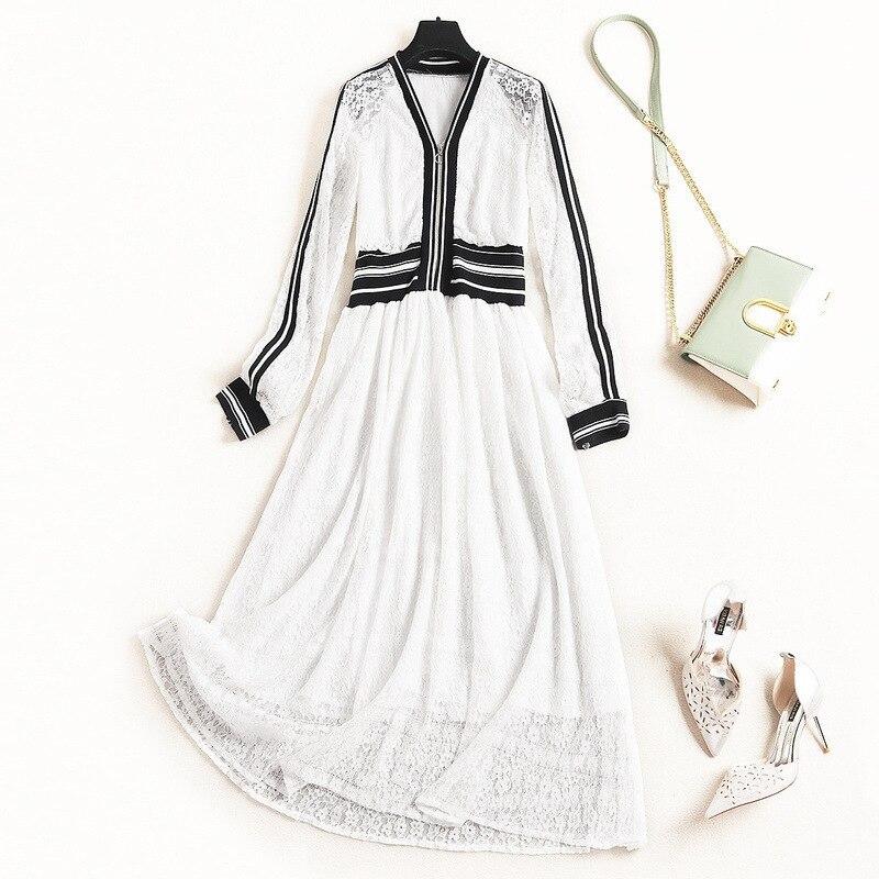 Femmes filles décontracté blanc dentelle robe zipper avant patchwork rayé taille à manches longues a-ligne robes d'été nouveau 2019 printemps