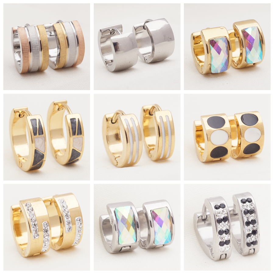 Yunkingdom 32 Pairs Different Style Stainless Steel Circle Hoop Earrings for Women and Men Simple Fashion Jewelry Wholesale