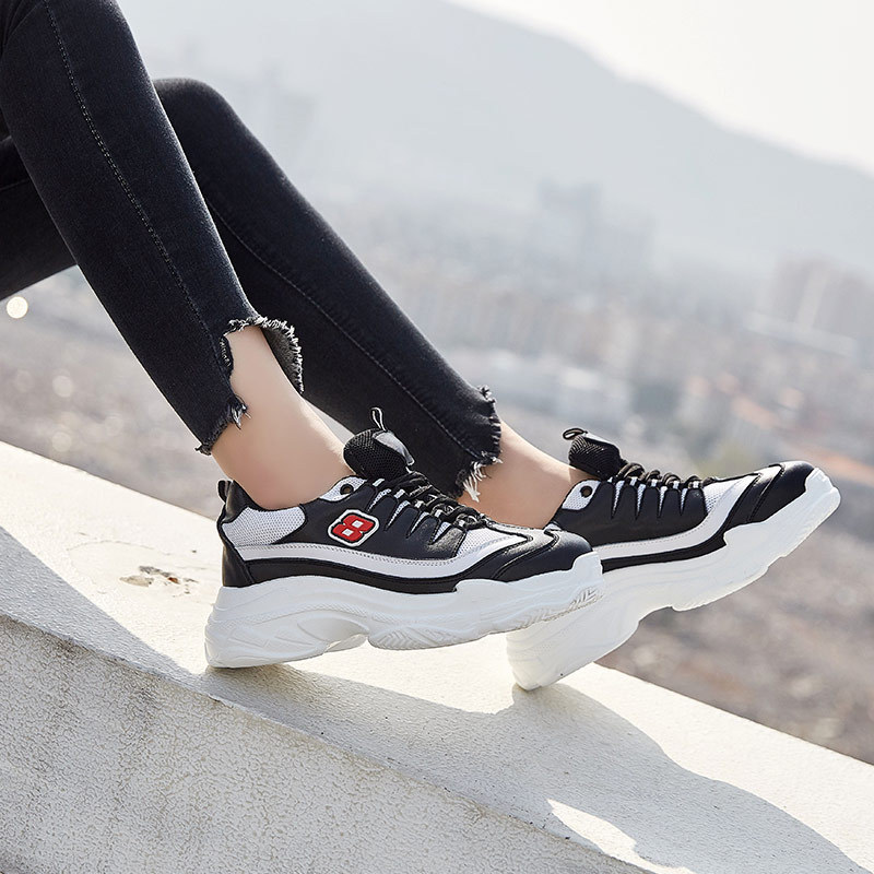 ... Brand Female Shoes Breathable Real Casual STAR Fashion Autumn Women  Sneakers White footwar Leather Platform chaussure ... 2918e837cd73