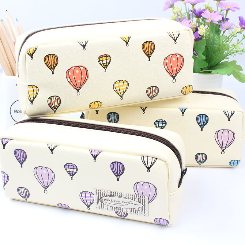 Big Capacity hot air balloon  PU Pencil Case Cute School Supplies Stationery Gift Pencil Box Pencilcase Pencil Bag animal cat pencil case big capacity pen bag boxes student school supplies multifunction stationery creative cute student gifts