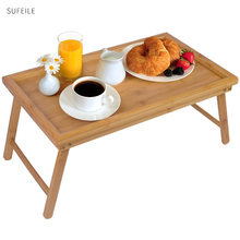 SUFEILE Laptop Stand Bed Tray Table With Folding Legs,Serving Breakfast in Bed or Use As a TV Table, Laptop Computer Tray D30