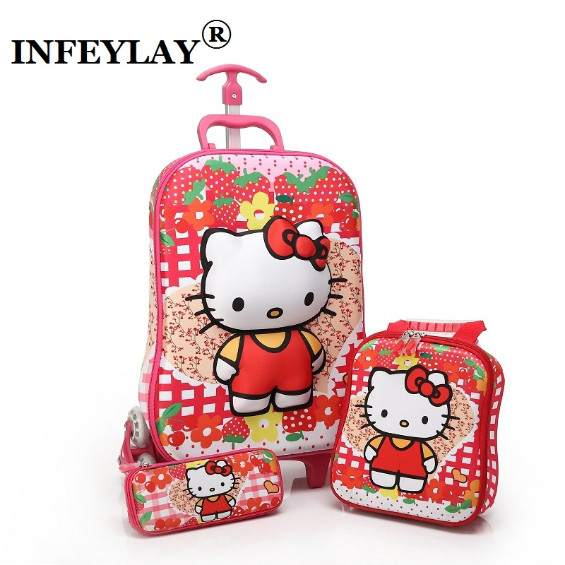 3PCS set lovely hello kitty kids Luggage Travel 3D stereo Pull rod box suitcase cartoon child