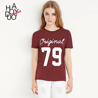 Haoduoyi2017 New Women S College Summer Sweet Wind Alphanumeric Printing All Match S T Shirts