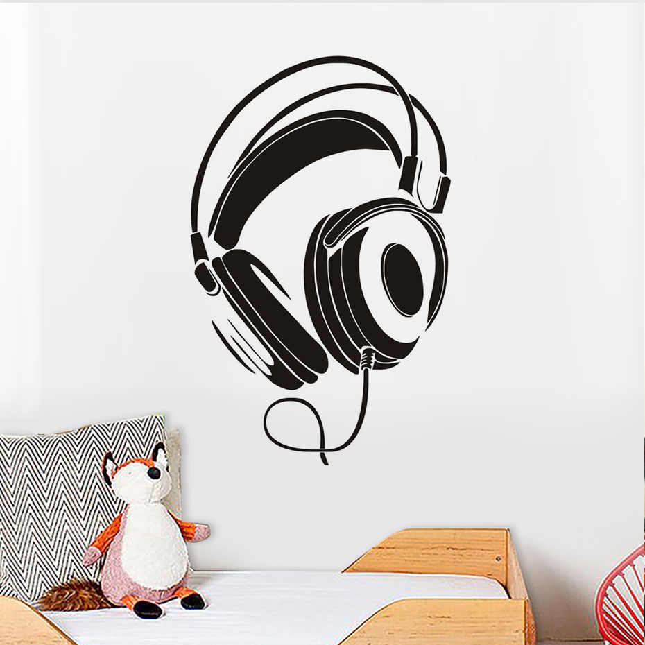 Music Sound Headphones DJ Cool Boys Girls Decor Home Wall Decal Sticker MU16