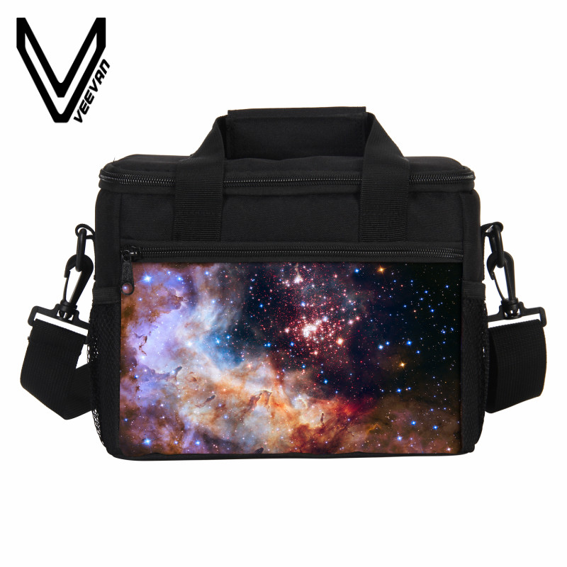 VEEVANV Fashion Starry Sky Printed Men Lunch Bag Cooler Insulated Lunch Bag Women Lancheira Thermo Lunch Box Food Picnic Handbag