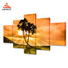 5 pieces home decor canvas painting sunshine coconut tree clouds landscape poster HD printing wall art picture for kids room