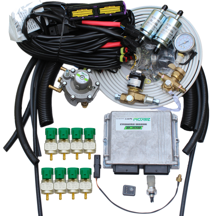 Methane CNG Sequential Injection System for Autogas Cars Dual Fuel Multipoint 8 Cylinders Zavoli BrandMethane CNG Sequential Injection System for Autogas Cars Dual Fuel Multipoint 8 Cylinders Zavoli Brand