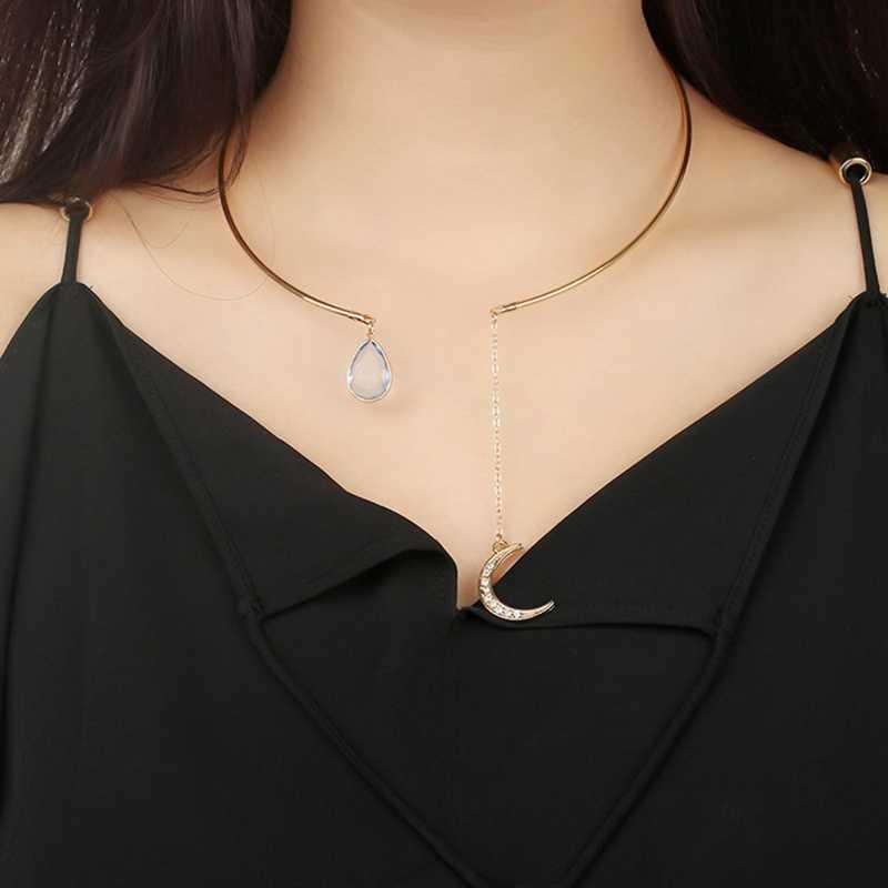 Baru Kreatif Liontin Bulan Terbuka Kalung Kalung untuk Wanita Elegan Kristal Manset Kerah Kalung Laporan Pesta Fashion Perhiasan