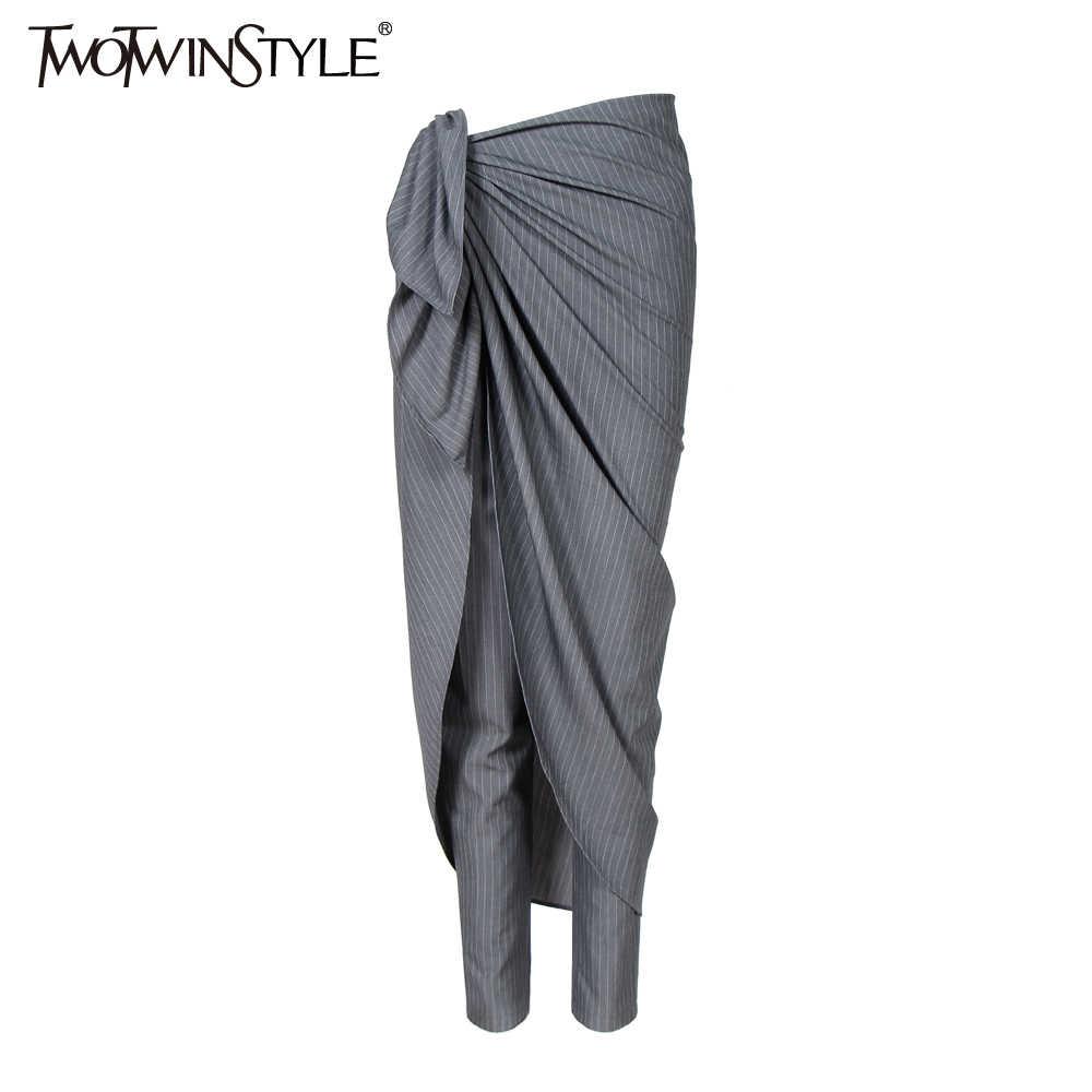 TWOTWINSTYLE Outono Listrado Calças Cortadas para As Mulheres Trajes Casuais Harém Lápis Calças de Cintura Alta Moda Feminina Tamanhos Grandes