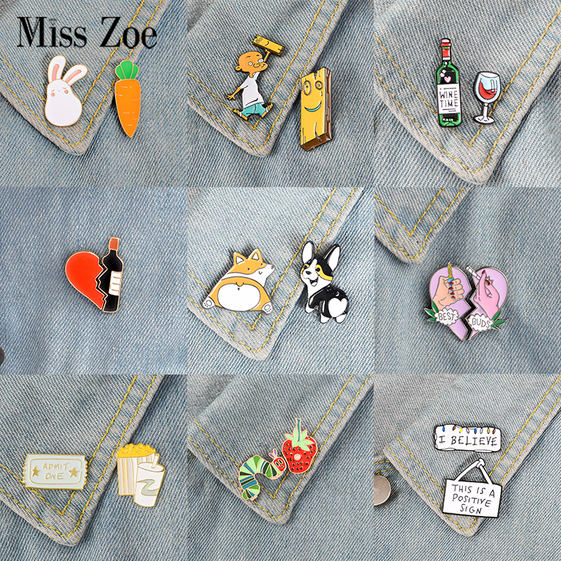 2pcs/set Good Partner Buddy Enamel Pins Wine Dogs Heart Brooches Custom Lapel Pin Badges Lovers Friends Brooch Jewelry Gift Kids